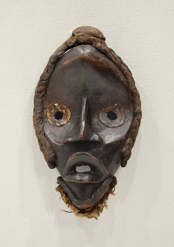 Africa Mask Dan Carved Wood Burnished Metal Teeth Eyes Dan Mask