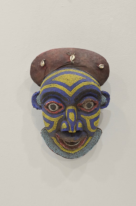 Mask African Bamum Beaded Face Mask Cameroon 14.5""