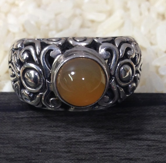Ring Sterling Silver Ornate Amber Silver Ring