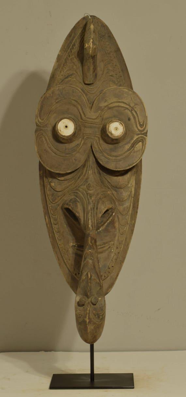"Papua New Guinea Mask Ancestor Wood Kandingai Village Conus Shells Ceremony Mask 32"""