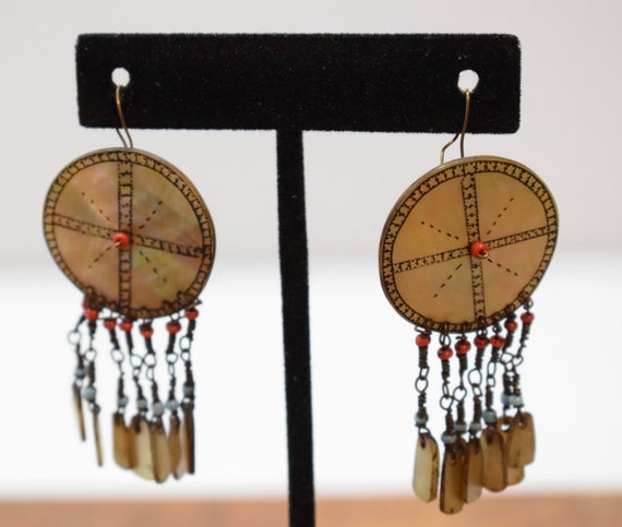 """Philippines Earrings Ilognot Mother of Pearl Shell Earrings 2"""""""