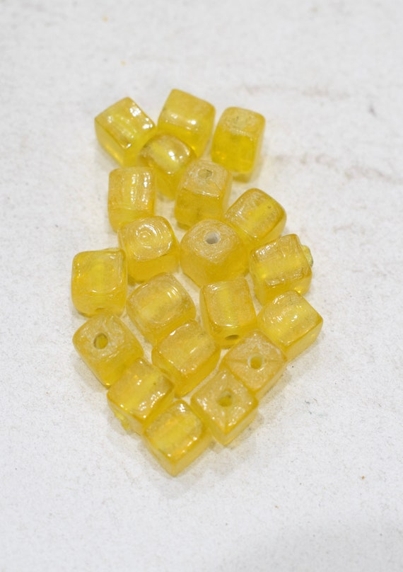 Beads India Yellow Glass Beads 9mm