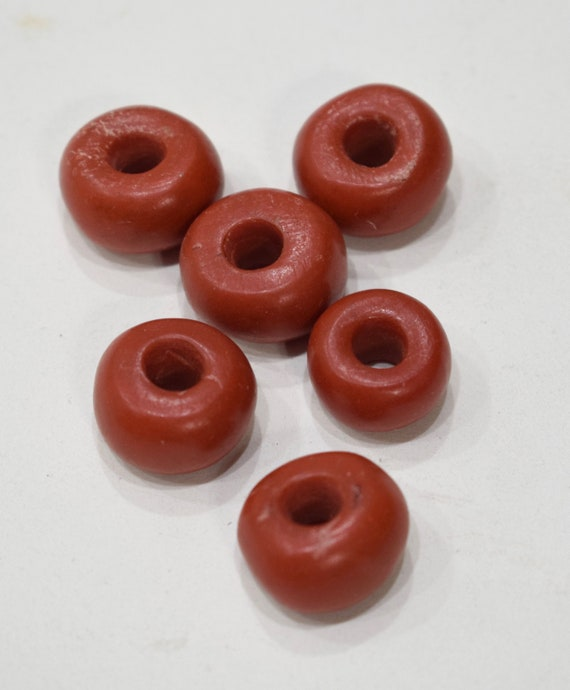 Beads Egyptian Red Paste Donut Beads 20mm