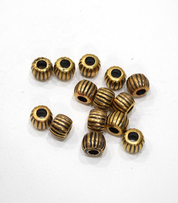 Beads Gold Etched Barrel Beads 11mm