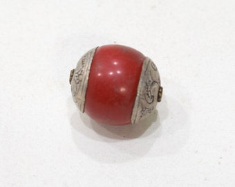 Beads Red Resin Bead Ornate Silver Etched Middle Eastern Bead 25mm