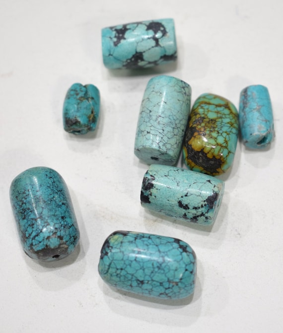 Beads Chinese Turquoise Large Tube Beads 14mm - 25mm