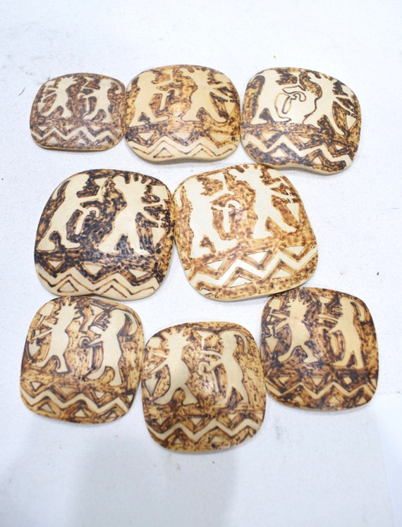 Beads Philippine Etched Coconut Square Pendants 40-53mm