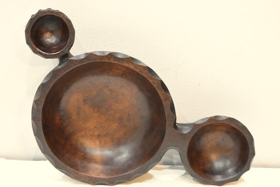 Philippines Ifugao Double Armed Star Bulul Burnished Wood Ritual  Bulul Star Bowl