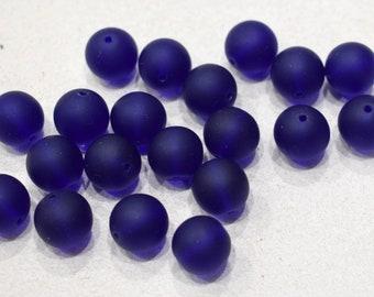 Beads Czechoslovakian Blue Matte Round Beads 12mm