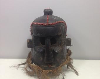 African Mask Helmet Binji KubaTribe Raffia Red Seeds Mask Congo