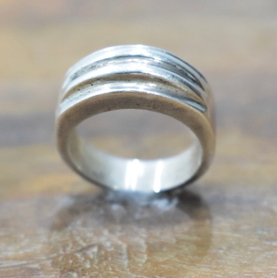 Ring Sterling Silver Ridged Band Ring