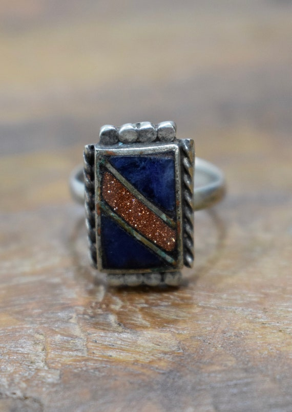 Ring Sterling Silver Square Lapis Goldstone Stone Ring