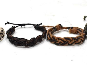 Bracelet Assorted Woven Fiber Leather Tie Adjustable Bracelets