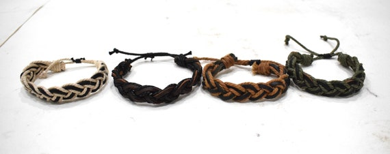 Bracelet Assorted Woven Fiber Leather Tie Adjustable Bracelets