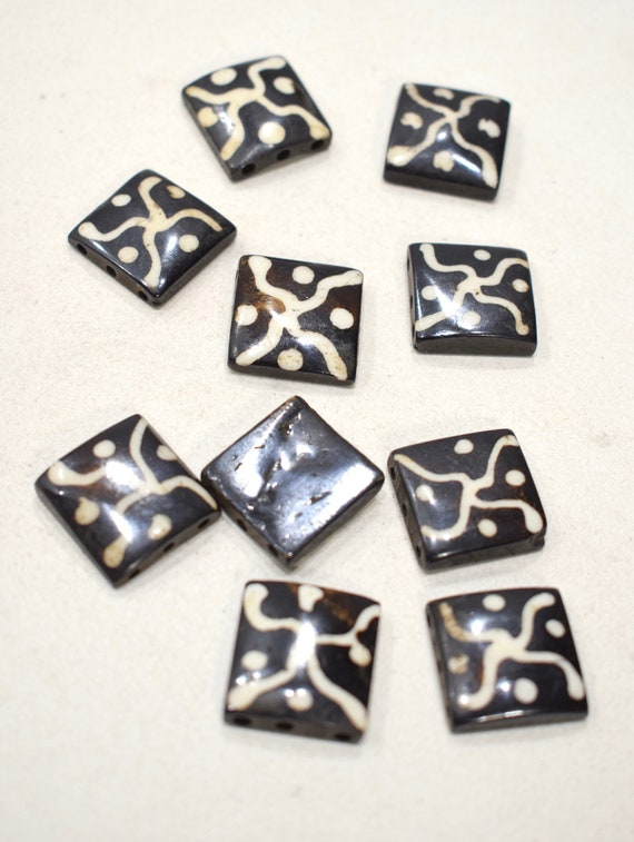 Beads African Old Batik Square Beads 20mm