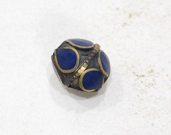 Beads Middle Eastern Blue Lapis Brass Oval Beads 16mm