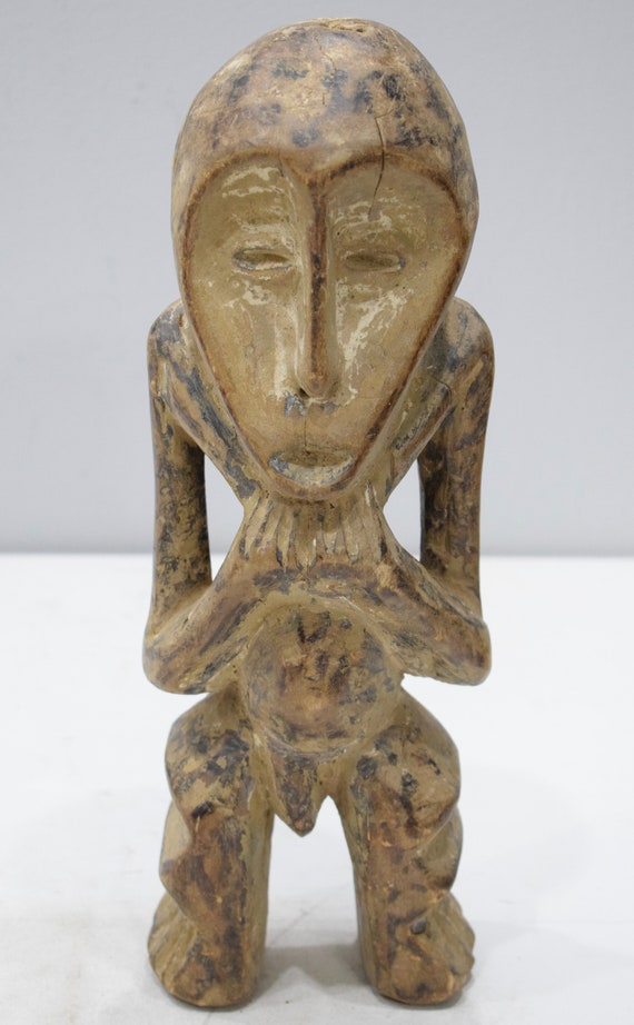 African Lega Figurative Wood Sculpture Lega 14.5""