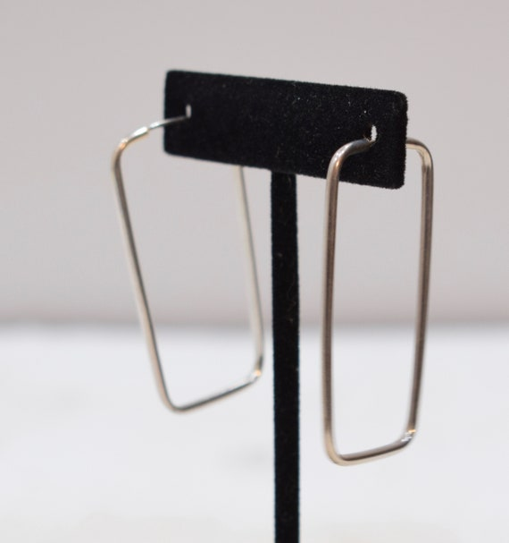 Earrings Sterling Silver Rectangular Hoop Earrings 49mm