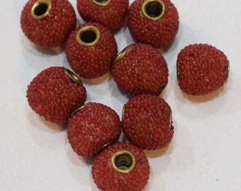 Beads India Sponge Red Coral Round Beads 12mm
