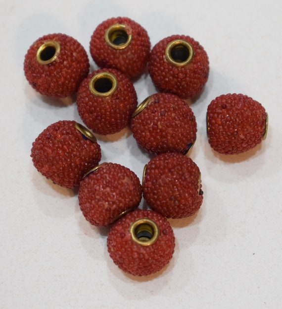 Beads India Sponge Red Coral Brass Round Beads 12mm