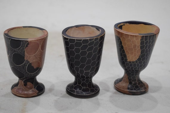 Cups Soapstone Carved Abstract Design Hand Painted 3 Cup Set Kenya
