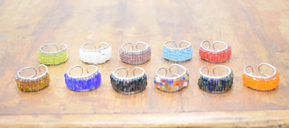 Rings Assorted Glass Beaded Adjustable Band Rings
