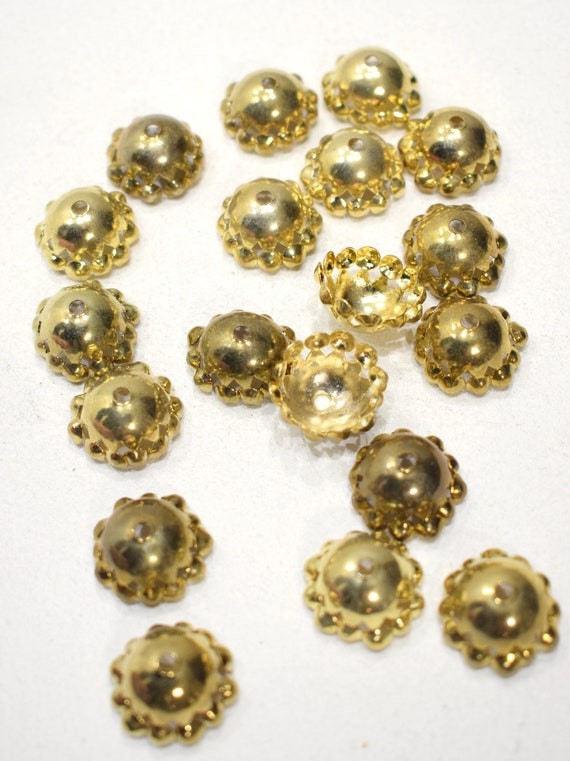 Beads India Brass Fluted Bead Caps 17-18mm