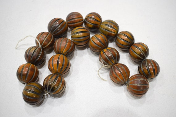 Beads Philippine Brown Grooved Round Beads 20-22mm