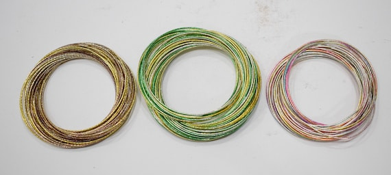 Bracelets Assorted Gold Green Gold and Rainbow Glitter Bangle Bracelets