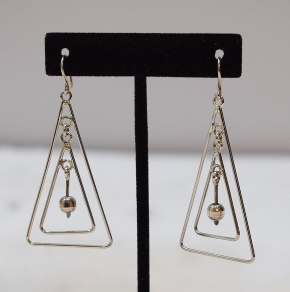 Earrings Sterling Silver Double Triangle Drop Earrings 60mm