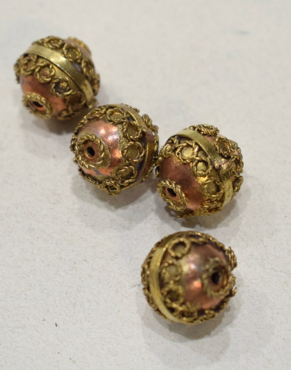 Beads India Brass Copper Ornate Bead 18mm