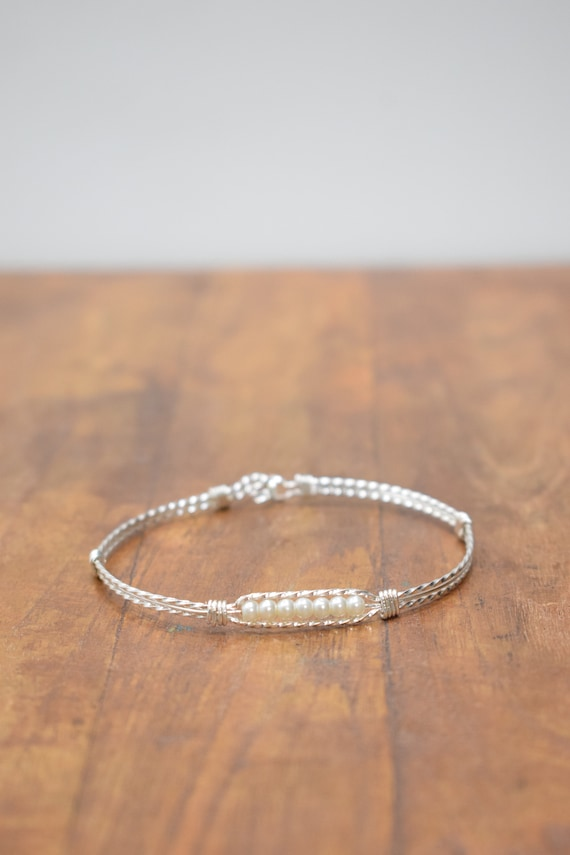 Bracelet Plated Silver Pearl Bangle Bracelet