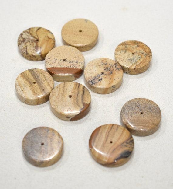 Beads Picture Jasper Flat Round Beads 22mm