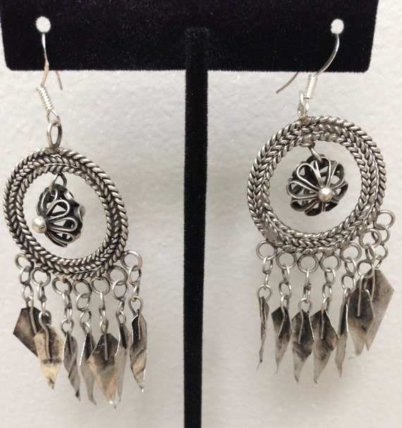 Chinese  Earrings Silver Miao Hill Tribe Handmade Handcrafted Etched Flower Dangle Tribal Earrings Gift for Her Jewelry Birthday Gift Idea