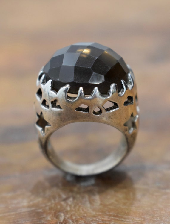 Ring Sterling Silver Faceted Smokey Topaz Round Stone Ring