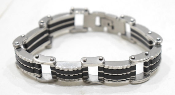 Bracelets Stainless Steel Black Rubber Clasp Linked Bracelets