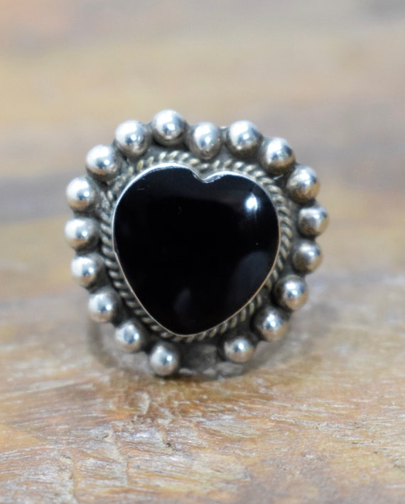 Sterling Silver Black Onyx Heart  Ring