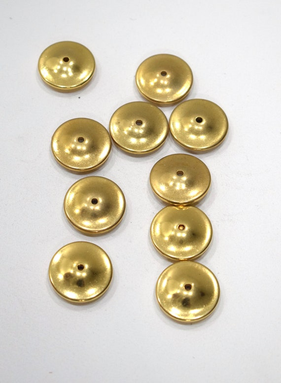 Beads Brushed Gold Flat Saucer Beads 26mm