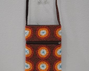 Purse Beaded Brown Orange Shoulder Bag