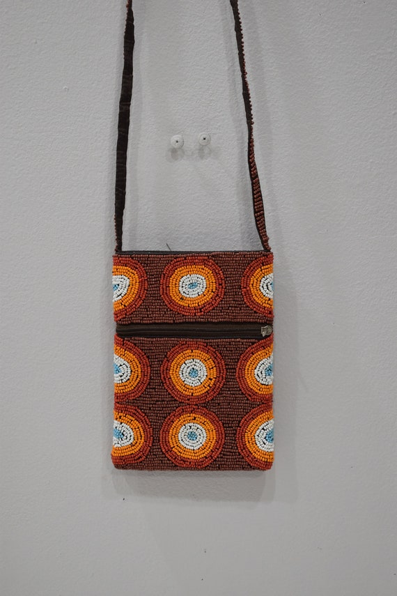 Purse Beaded Brown Orange Shoulder Bag