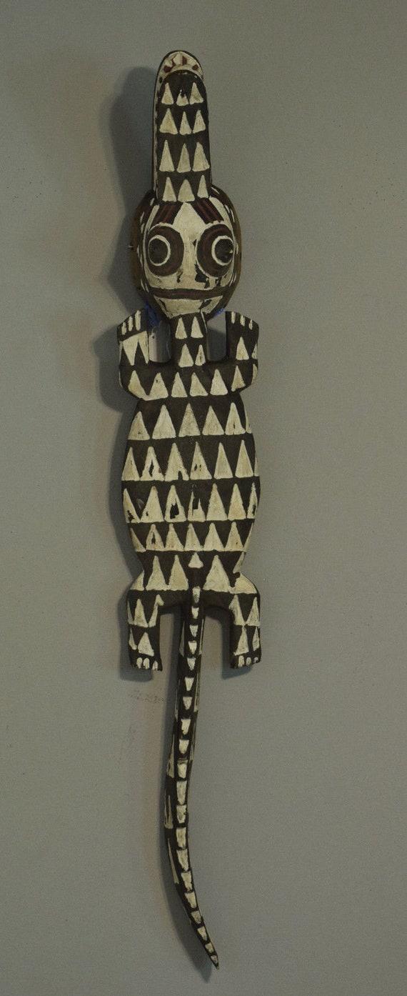 African Mask Crocodile Nuna Bobo Mask  Burkina Faso Black White Textured Tribal Crocodile Mask