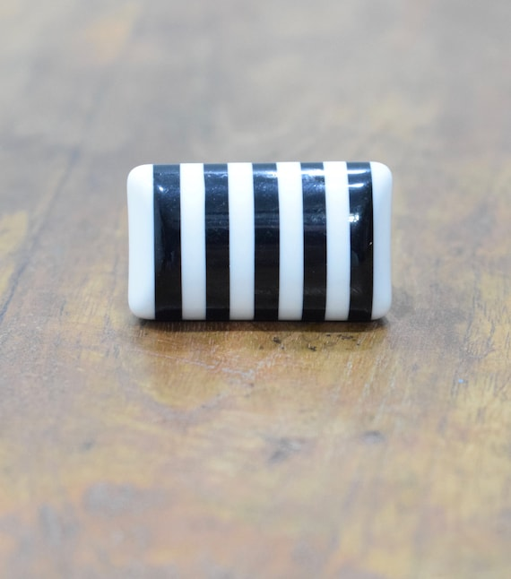 Rings Lucite Black White Stripped Lucite Rings
