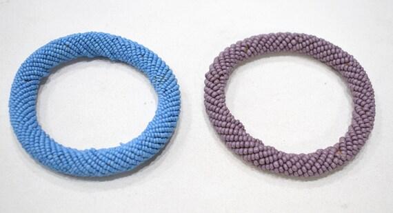 "African 2 Masai Colored Bangle Bracelets Kenya 4"""