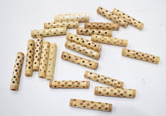 Beads Philippine Bone Dotted Tubes Beads 38mm