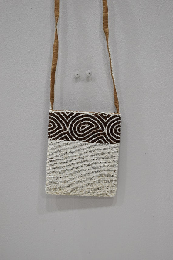 Purse Beaded Brown White Shoulder Bag