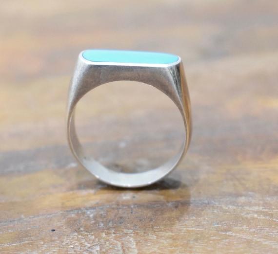 Ring Sterling Silver Rectangular Turquoise Ring