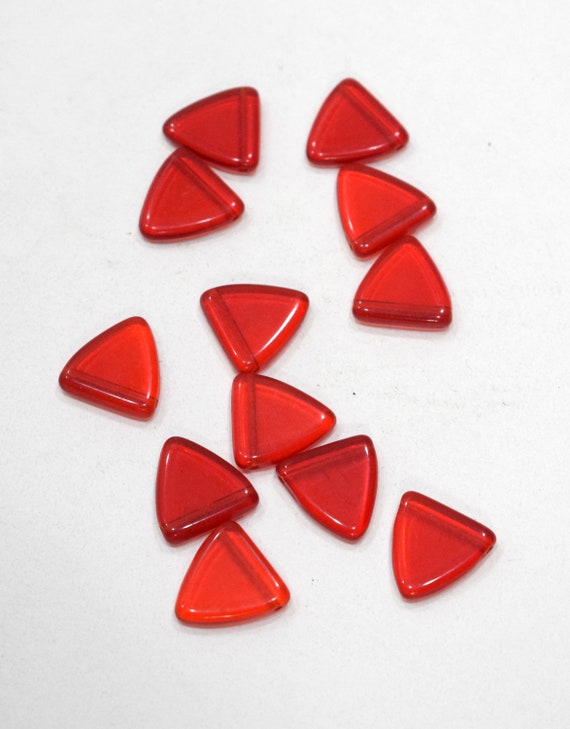 Beads Wedding Glass Shiny Red Triangle Beads 17-18mm