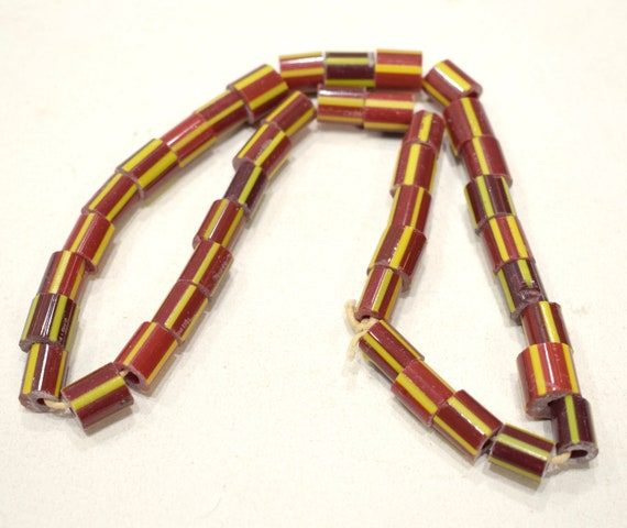 Beads India Red Yellow Stripped Glass 12-13mm