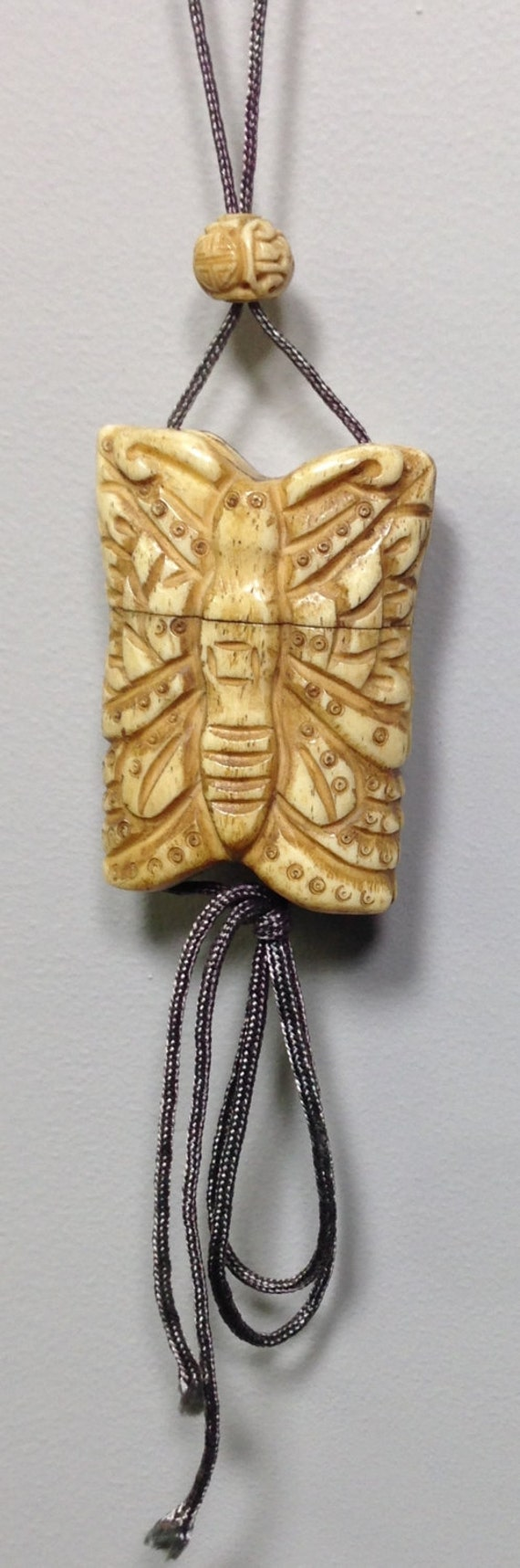 Cord Necklace Chinese Carved Bone Butterfly Box Handmade Handcrafted Unique Statement  Butterfly Box Jewelry Necklace