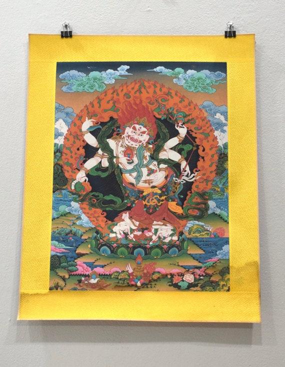 Tibetan Thangka Silk Print Painting Buddhist Deity